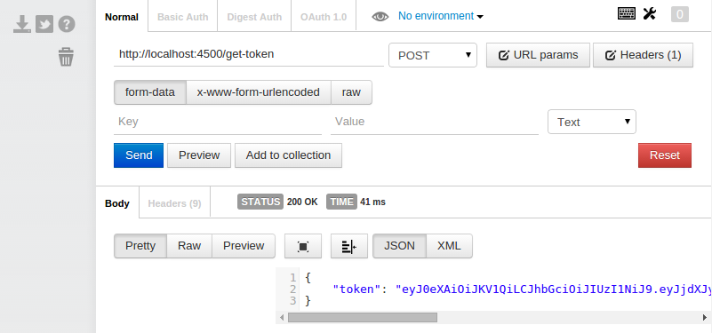 Sending POST request to fetch token w/ Postman